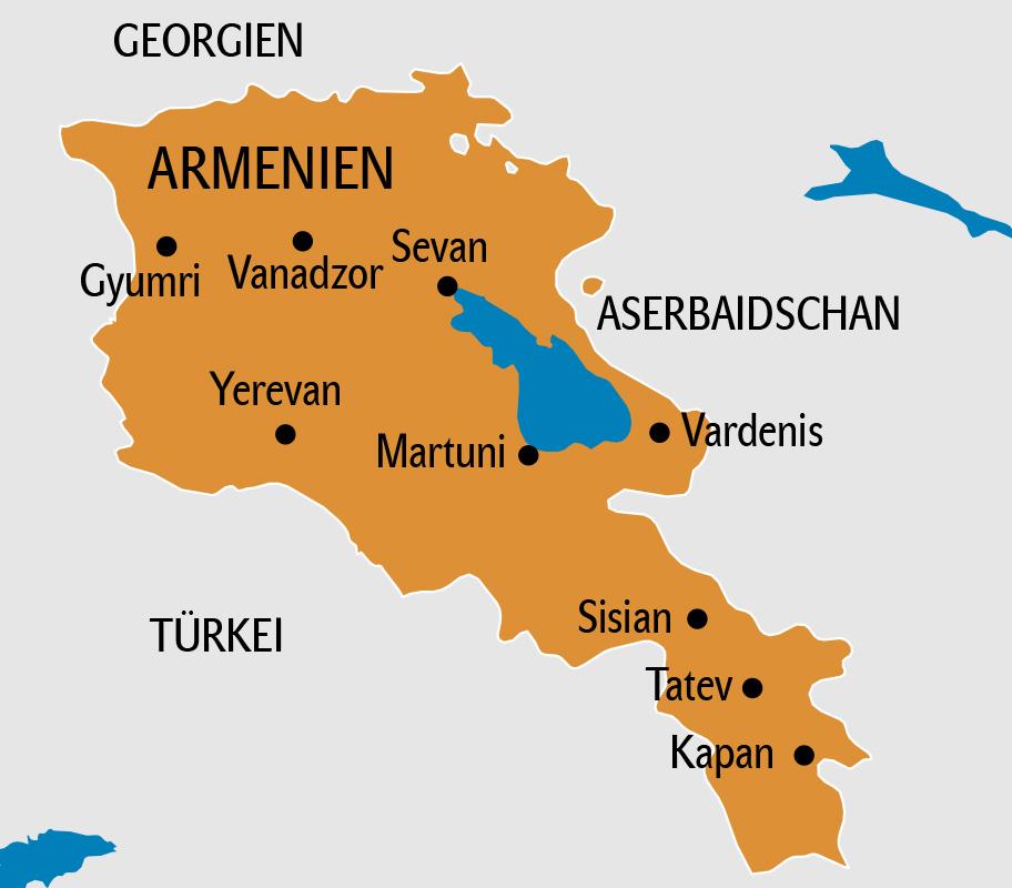Armenien Karte, Landkarte Armenien