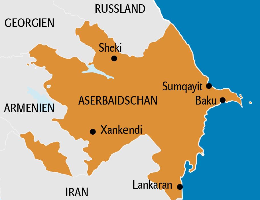 Aserbaidschan Karte, Landkarte
