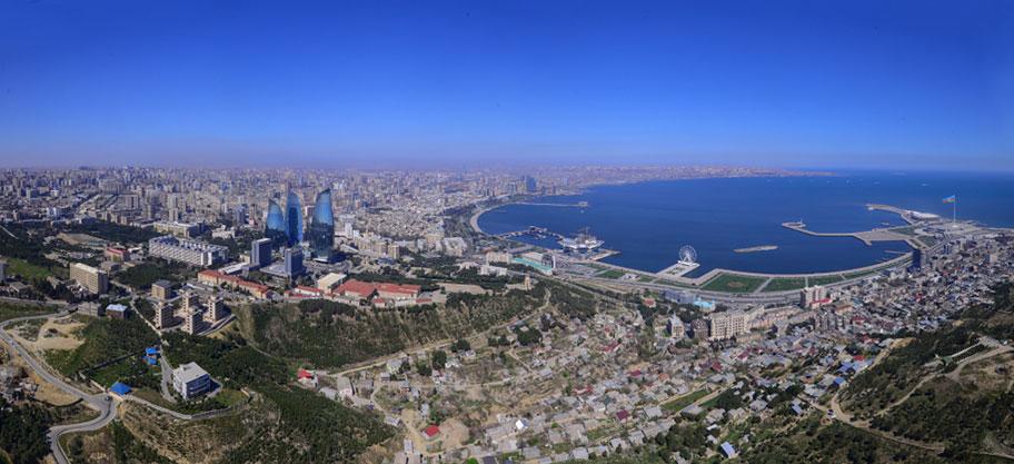 Baku Ferien Luftaufnahme