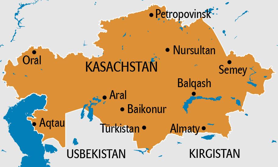 Kasachstan Karte, Kasachstan Landkarte