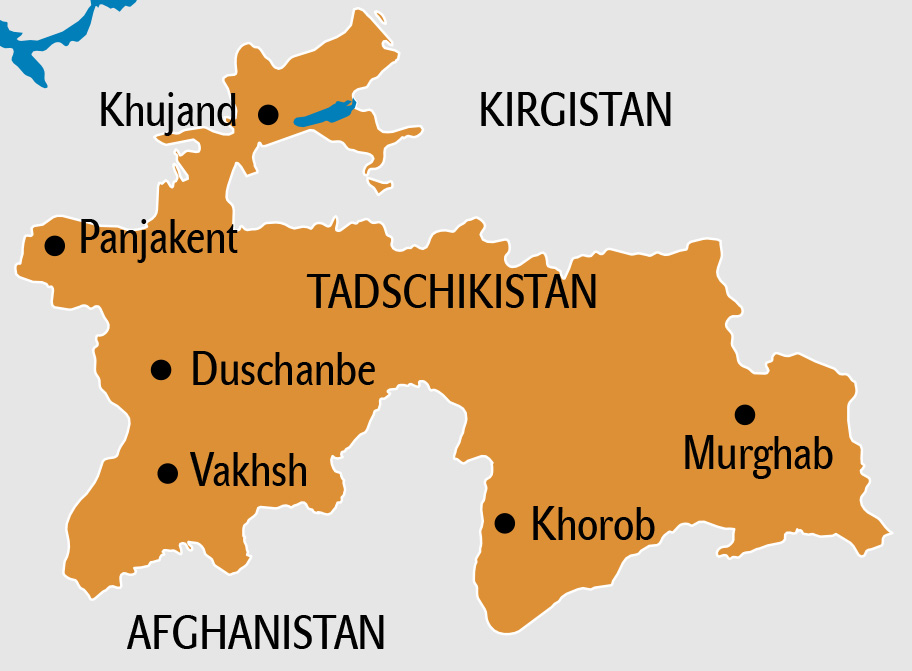 Tadschikistan Karte, Landkarte