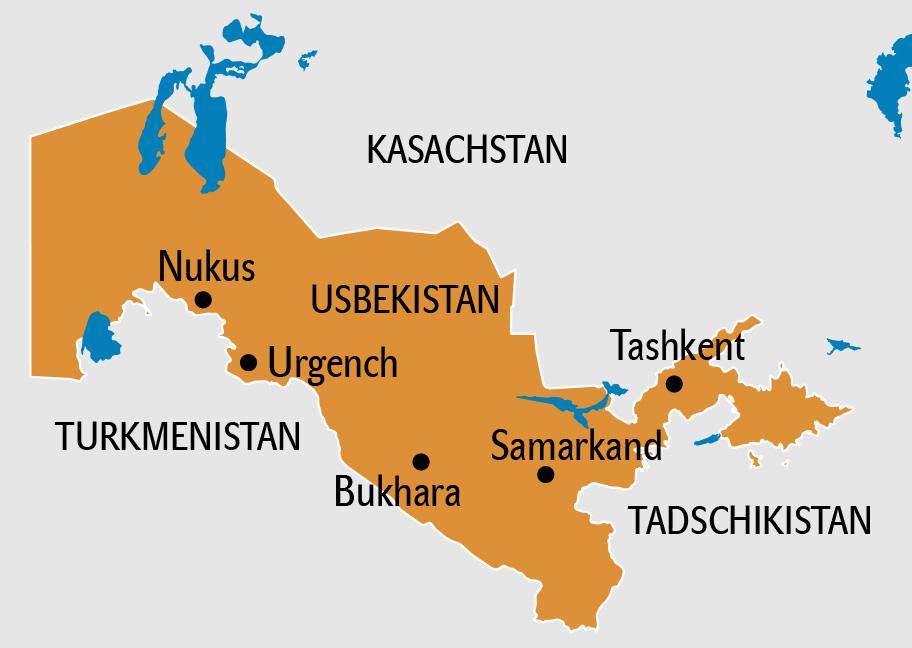 Usbekistan Karte, Usbekistan Landkarte